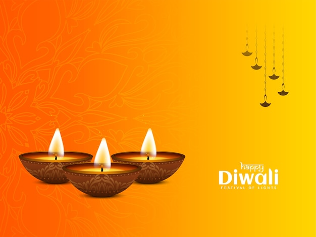 Religious happy diwali festival greeting background