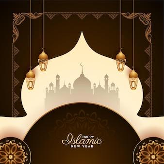 宗教的な幸せなムハッラムとイスラムの新年の背景ベクトル