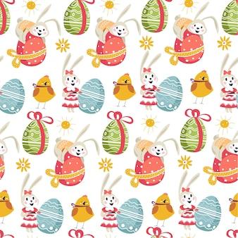 Религиозный праздник весной, пасхальный кролик яйцом с орнаментом и лентой бесшовные модели