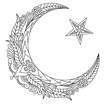 Религиозный исламский символ звезды и полумесяца с цветком