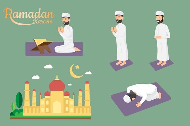 Религиозный мусульманин молится вместе в мечети.