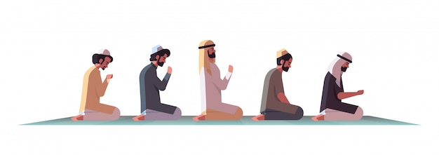 Религиозный мусульманин на коленях и молиться на ковер рамадан карим святой месяц религия концепция плоский изолированных полная длина горизонтальный