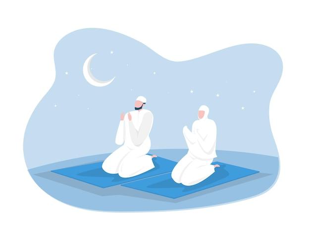 Религиозные мусульманские молитвы в традиционной одежде в полный рост вертикальные векторные иллюстрации в мечети фон векторной графики