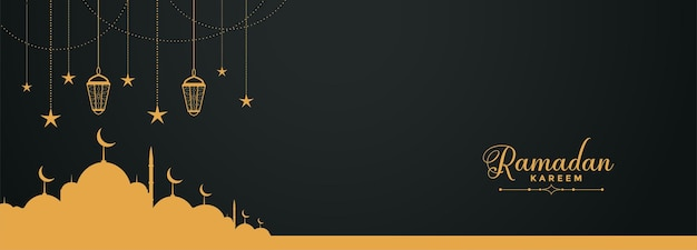 Religious ramadan kareem banner with mosque Free Vector