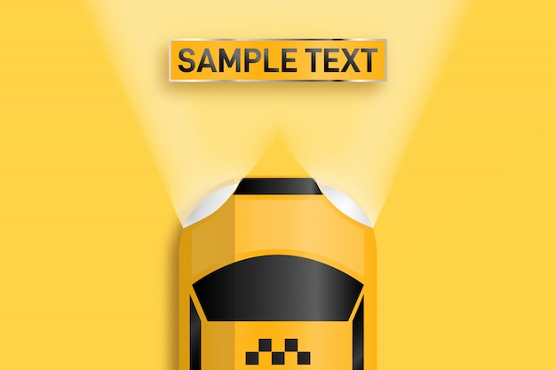 Relistic business card taxi. space for text illuminated by auto headlights.
