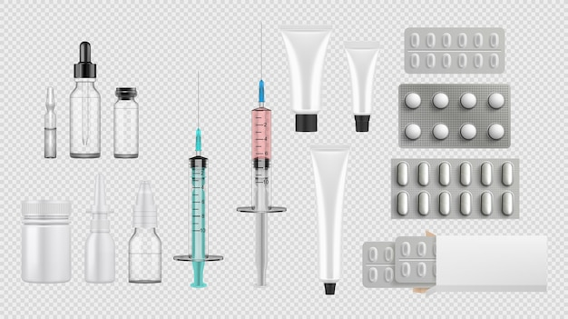 Relistic medical equipment set collection.  template of realism style drawn treatment pills tablets containers syringe antibiotics on white background. healthcare or medical support illustration