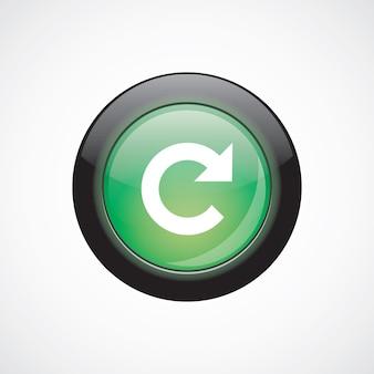 サインアイコン緑色の光沢のあるボタンをリロードします。 uiウェブサイトボタン