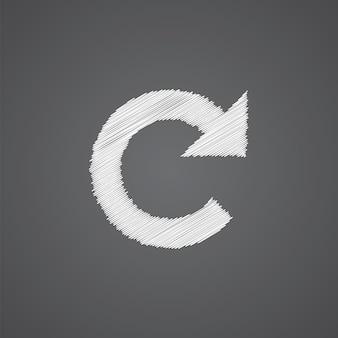 Перезагрузить эскиз логотипа каракули значок, изолированные на темном фоне