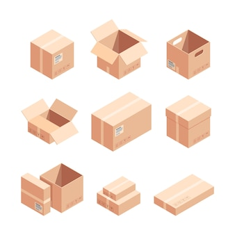 Relocation carton boxes isometric 3d vector illustrations set. sealed and unpacked cardboard packages isolated cliparts pack.