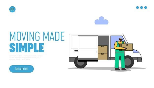 재배치, 배달 및 이동 개념. 이동 서비스 작업자에게 자동차 트럭에서 판지 상자를 내립니다.
