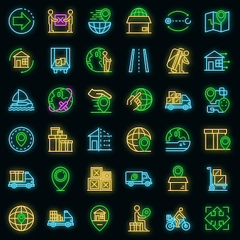 Relocation icons set. outline set of relocation vector icons neoncolor on black