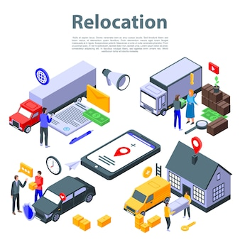 Relocation move concept banner, isometric style