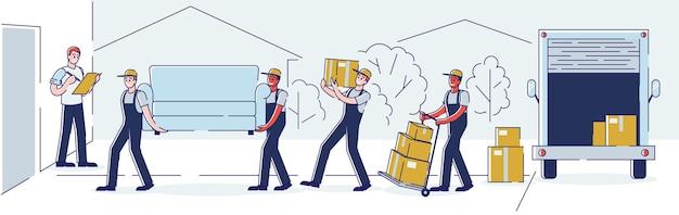 Переезд, профессиональные услуги грузчика компании доставки и концепция переезда в новый дом. рабочие несут картонные коробки и мебель, используя тележку и грузовик, мультяшный плоский вектор, штриховое искусство