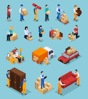 Relocation service isometric icons