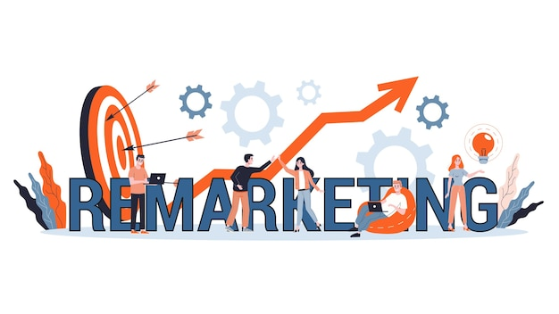 Remarketing concept illustration. business strategy or campaign for sales increase. idea of promotion and advertising.