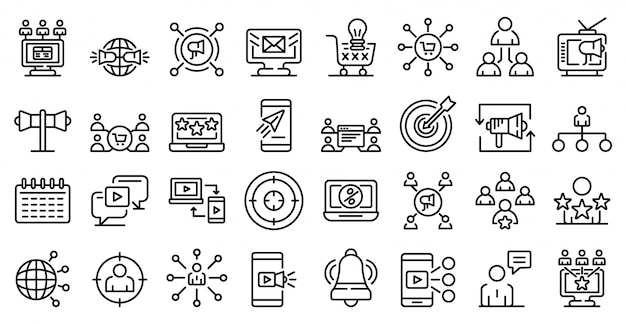 Remarketing icons set, outline style