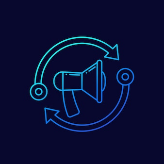Remarketing line icon with a loudspeaker, vector
