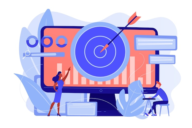 Менеджер и специалист по ремаркетингу ставят таргетированные объявления. стратегия ремаркетинга, инструмент цифрового маркетинга, концепция методологии генерации посетителей. розовый коралловый синий вектор изолированных иллюстрация