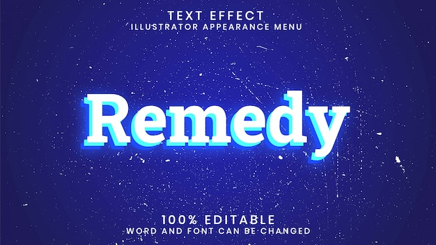 Remedy editable glowing text effect style template