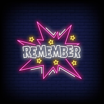 Remember neon signs style text vector