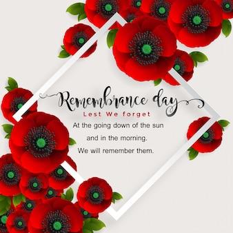 День памяти, чтобы не забыть. реалистичный красный цветок мака с бумагой вырезать искусство и ремесло стиль на фоне.