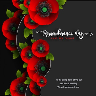 Remembrance day lest we forget. realistic red poppy flower with paper cut art and craft style on background.