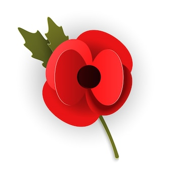 Remembrance poppy appeal in paper cut style. modern origami design red flower isolated on white background. vector illustration