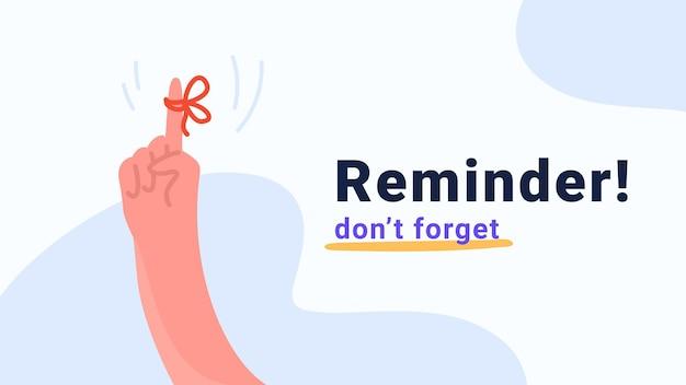 Напоминание, не забывайте важную задачу. человеческая рука указывая пальцем с красной лентой и бантом в качестве уведомления. плоская современная концепция векторные иллюстрации для баннеров и промо-страниц