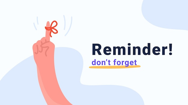 Reminder, do not forget an important task. human hand pointing finger with red tape and bow as notification. flat modern concept vector illustration for banners and promo pages