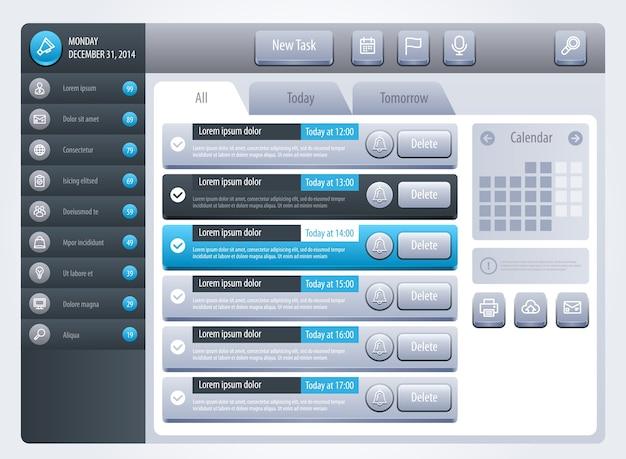 リマインダーインターフェイス。 webサイトまたはアプリケーションのテンプレート。 。