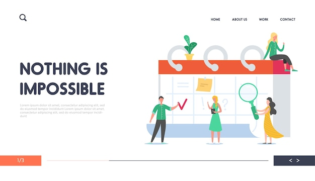 알림, 시간표 개념 소개 페이지. 일정에 따라 일하는 사업 사람들. 웹 사이트의 데스크 캘린더에서 작업 프로젝트를 계획하는 작은 캐릭터.