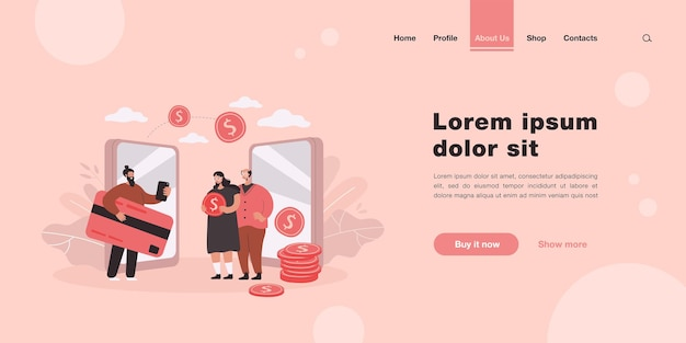 Remittance and money transfer between relatives landing page in flat style