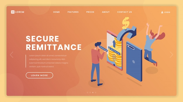 Remittance security landing page vector template