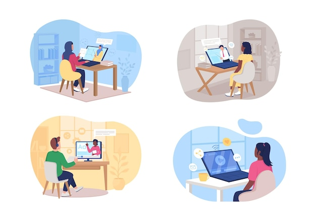 Remote class set. man and woman watching online tutorial flat characters on cartoon. elearning printable patch,