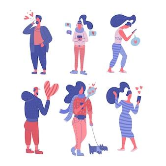 バレンタインデーのコンセプトでのリモートコミュニケーション。携帯電話で話している人々のセット。