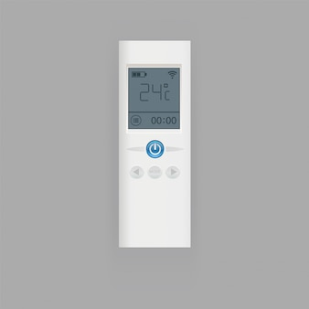 Remote control of air conditioner illustration, flat realistic remote controller equipment with display