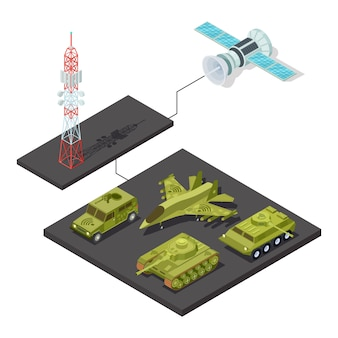 Remote control of military equipment with wi-fi illustration
