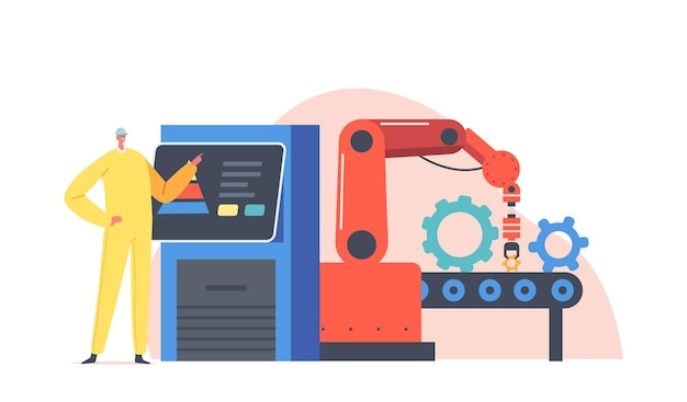 Remote control on plant, conveyor belt smart factory workflow. worker character control robot hand work on assemble line, production manufacture automation process. cartoon people vector illustration
