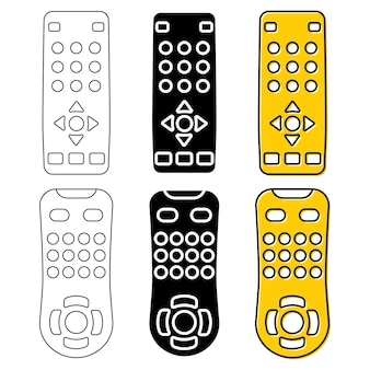 Remote control for tv, dvd or media center. tv remote in outline, glyph and color. television clicker in flat style. vector illustration isolated on white background