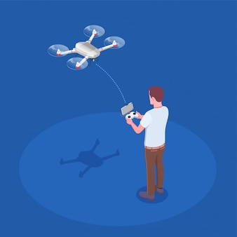Remote controlled quadrocopter composition Free Vector