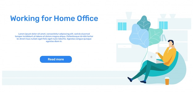 Remote, distant job landing page template