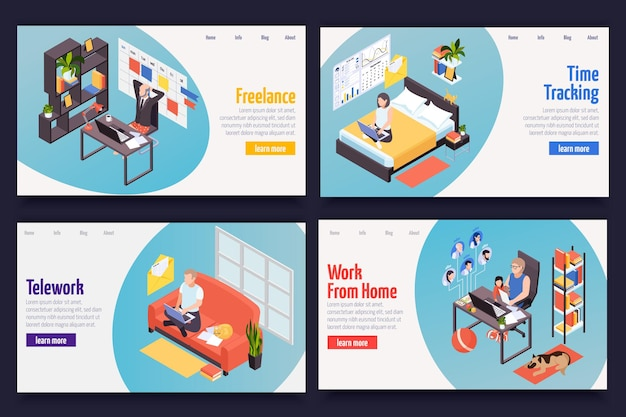 Remote distant work managing isometric web banners