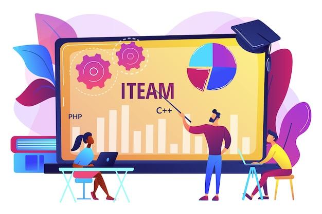 遠隔教育、ウェブセミナー。コンピューティングとハイテククラス。 it管理コース、オンラインitマネージャー、it管理トレーニングコースのコンセプト。