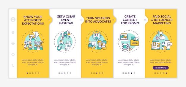 원격 이벤트 마케팅 온보딩 벡터 템플릿입니다. 아이콘이 있는 반응형 모바일 웹사이트입니다. 웹 페이지 연습 5단계 화면. 기대, 선형 일러스트레이션으로 옹호 색상 개념으로 전환
