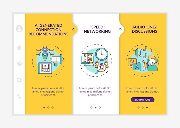 Remote events for networking onboarding vector template. responsive mobile website with icons. web page walkthrough 3 step screens. ai recommendations color concept with linear illustrations