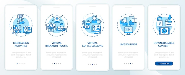 Remote events success tips onboarding mobile app page screen with concepts