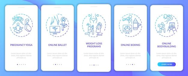 Программы для удаленных тренировок на экране страницы мобильного приложения с концепциями. бодибилдинг онлайн, пошаговое руководство по боксу. шаблон пользовательского интерфейса