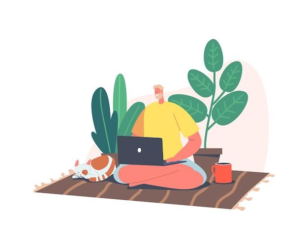 원격 프리랜서 작업, 재택 근무 개념입니다. 남자 프리랜서는 노트북에서 멀리 떨어진 고양이와 커피 컵, 집에서 일하는 캐릭터와 함께 요가 포즈를 취하고 바닥에 앉아 있습니다. 만화 벡터 일러스트 레이 션