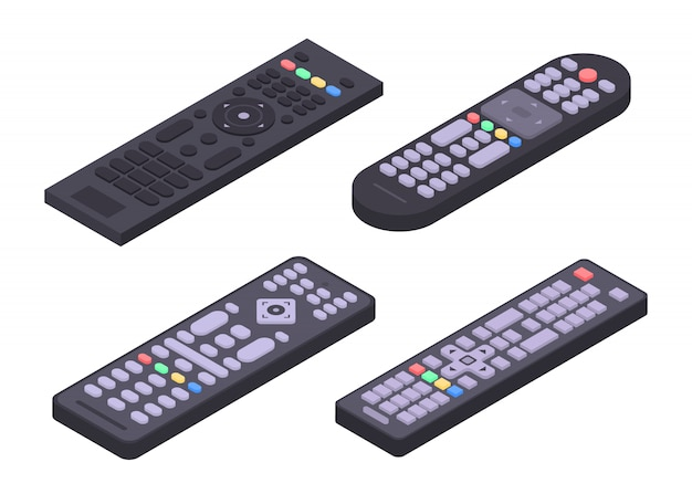 Remote icons set, isometric style