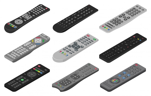 Remote isometric set icon. isolated isometric set icon control tv. illustration remote on white background.